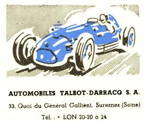 affiche autombiles Talbot Darracq